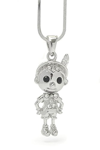 Pinocchio 3D Necklace BG Clear Crystal Silver Tone Luxury Plating (Pinocchio Nose Growing)