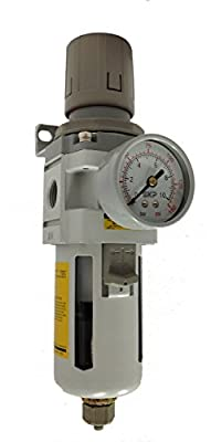 "PneumaticPlus SAW3000M-N03BDG Air Filter Regulator Combo Piggyback, 3/8"" Pipe Size, NPT-Auto Drain, Poly Bowl with Gauge"