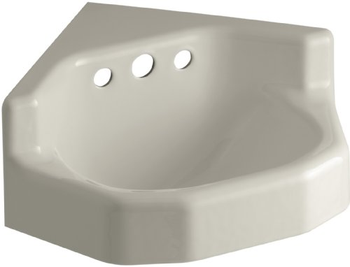 KOHLER K-2766-EH-G9 Marston Wall-Mount Corner Bathroom Sink, Less Faucet, Sandbar
