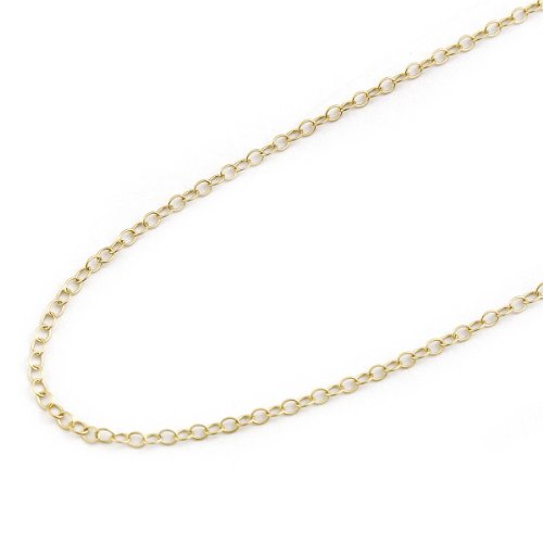 15 Inch Cable Chain (14k Solid Yellow Gold 1.5 mm thick Cable Chain - 15