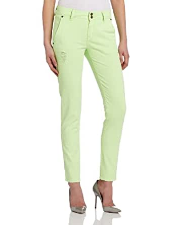 BCBGeneration Women's Johnny Revamped The Trouser Jean, Destroyed Neon Green, 23