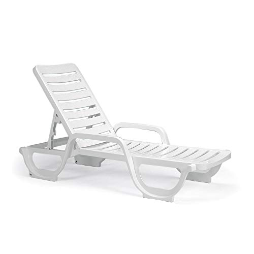 Grosfillex US031004 Bahia Chaise, Adjustable, Solid White (Case of 2)