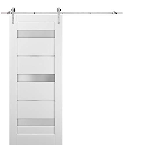 Sliding Barn Door 42 x 96 with Stainless Steel 8ft Hardware | Quadro 4055 White Silk with Frosted Opaque Glass | Top…