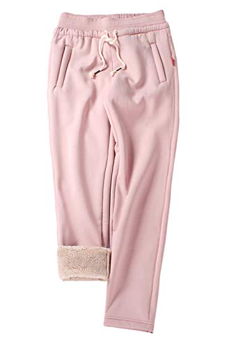 Gihuo Women's Winter Fleece Pants Sherpa Lined Sweatpants Active Running Jogger Pants (2# Pink, Large)