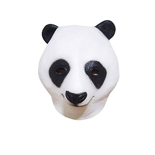 Creepy Horse Head Mask Full Face Latex Animal Party Unicorn Mask Halloween Costume Props Christmas Adults & Kids (Panda) -