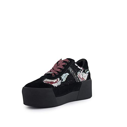 Liu Ruby Cow Maxy01 Black Zapatos Mujeres Suede Lace Sneakers Jo Up Wool Negro Printed rz7pq1rxIw