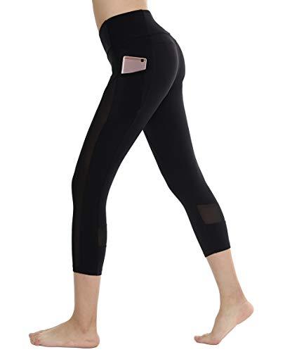 Dragon Fit Mesh Capri Yoga Leggings with 2 Pockets,Tummy Control Workout Running 4 Way Stretch Yoga Pants (Medium, Black-Mesh Pockets) ()