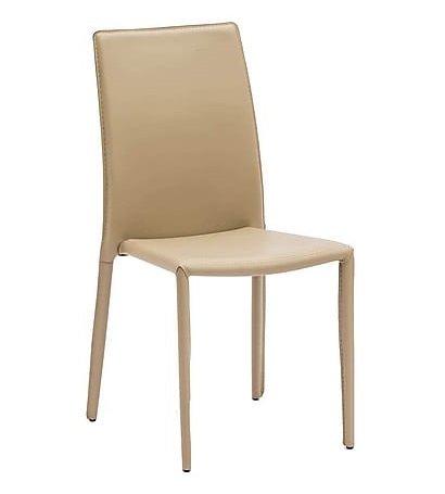 Sedie Design Impilabili.Arredo Design Italy 4 Sedie In Metallo Impilabili Rivestite In Ecopelle Beige Cucina Ristorante Pub Sala Da Pranzo Salotto Studio