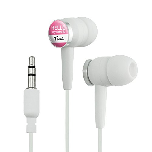 Wht Tin - Tina Hello My Name Is Novelty In-Ear Earbud Headphones - White