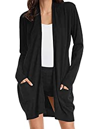Women Open Front Cardigan Sweaters Pockets Long Sleeve Shrugs