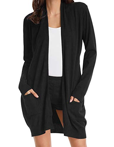 Women's Long Sleeve Open Front Jacket Sweater Cardigan with Pockets Black S ()