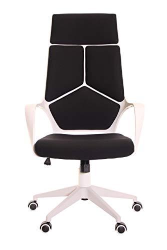 TimeOffice Ergonomic Office Chair with Armrest And Matt White Color Frame Black