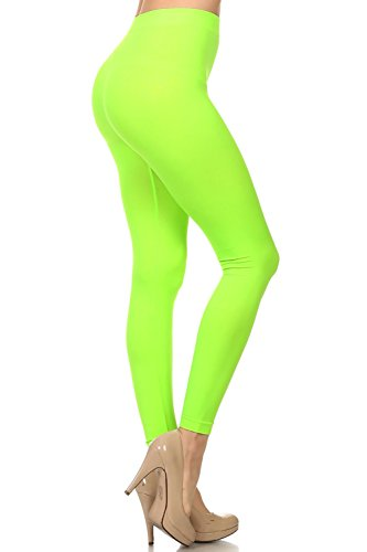 Neon Nation Colored Seamless Leggings Athletic Pants Costume Party Tights Quality (Neon Green)