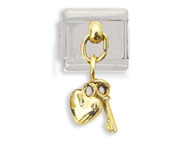 Key and Heart Dangle Italian Charm Bracelet Link