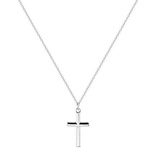 Womens Sterling Silver Cross Necklace-Dainty Minimalism Faith Cross Friendship Pendant Choker Necklace (Silver Cross Personalized Sterling)