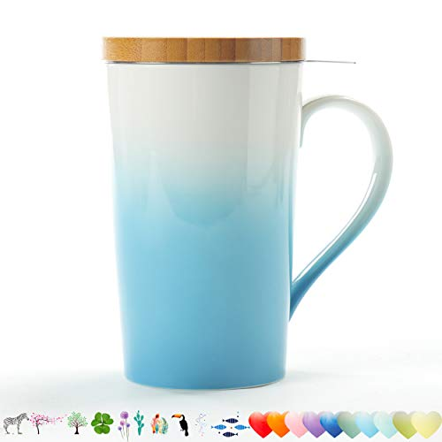 With Lid Infuser - TEANAGOO M066 Tea Mug with Infuser and Lid, 18 OZ, Turquoise, Travel Teaware with Filter Clover, Tea Cup Steeper Maker, Brewing Strainer for Loose Leaf Tea,Diffuser mug set for Tea Lover Gift ceramic