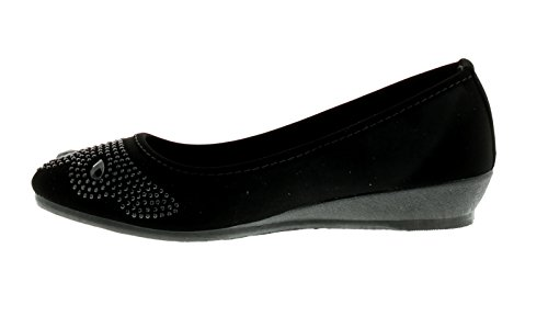 NUEVO MUJER NEGROS SIN CIERRES Plataforma Zapatos con pedrería Detalle Negro - GB Tallas 3-9
