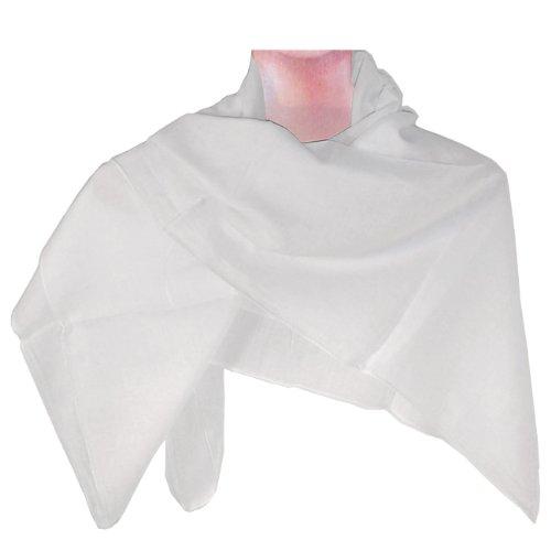 Foulard Blanc Coton 100x100cm uni épaule Étoffe Foulard accessoire