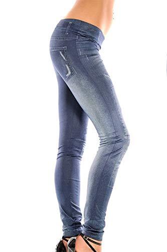 Le Sono Imitazione Di Tratto Skinny Donne Blu Leggings Yoga Jeans Del Pantaloni 6an65rwq