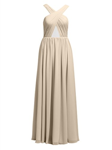 Long Alicepub Bridesmaid Cross Champagne Gowns Homecoming Evening Dresses Party Backless Strap Chiffon Prom ZdqSHd