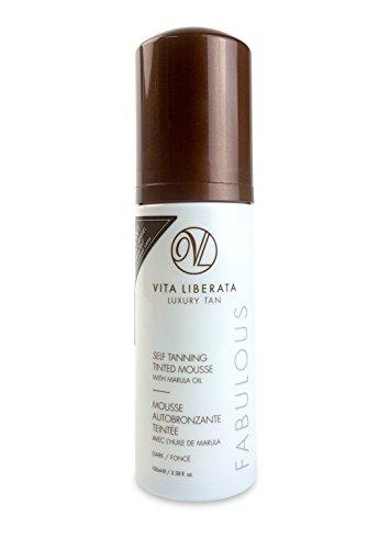 Fabulous Sheer - Organic Sunless Tanning Mousse - VITA LIBERATA Fabulous Self Tan Mousse, Natural, Organic, Vegan Fake Tan Mousse with NEW Sheer Caramel Tint - Dark 4.22 fl. oz.