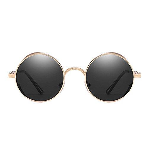 Gothic Frame Gafas Steampunk WEIMEITE Polarizadas sol Metal C3 de Gafas Mujeres Hombres Vintage Redondas BxqdZB