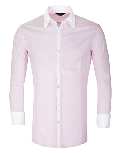 Big And Tall Formal Wear (Fashion Wrinkle Free Dress Shirt for Men Formal Business Work Vogue with Buttons Big and Tall (XL) KL-2, Pink)