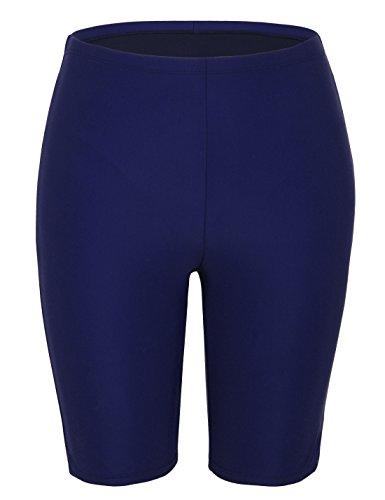 Hilor Women's UV Long Bike Shorts Rash Guard Boy Leg Swim Bottom Active Sport Capri Pants Light Navy Blue 8