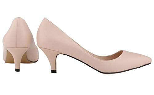 Women's Pointed Closed Toe Slip On Kitten Low Heel Dress Pumps Nude Soft Pu FRqeOI