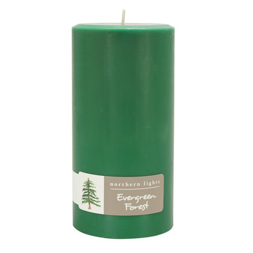 Northern Lights Candles Evergreen Forest Pillar Candle, 3x6, Hunter Green