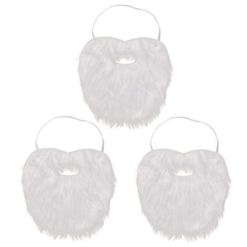 AMOSFUN 3PCS Santa Claus Beard Fake Mustache Funny Costume Christmas Halloween Mask Party Artificial Beard Facial Game Whisker Beard Party Supplies -