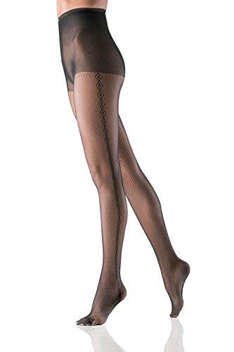 Fishnet Pantyhose High Waist Control Top Sheer Mesh Tights With Side Seam Pattern (Small/Medium, Black, Scalloped Waistband) (Control Waistband Top Pantyhose)