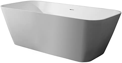 ALFI brand AB9952 67″ White Rectangular Solid Surface Smooth Resin Soaking Bathtub