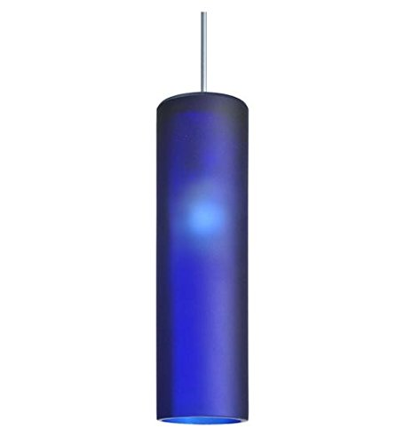 Meyda Tiffany Custom Lighting 99533 Venice 1-Light Wine Bottle Mini-Pendant, Platinum Finish with Blue Frosted Art Glass Shade (Sandblasted Platinum)