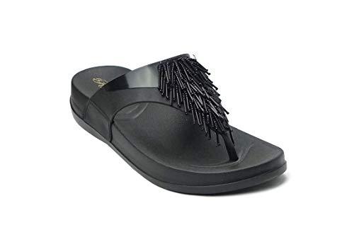 - REDVOLUTION Women's Jewel Sandals Soft Platform Footbed Fashion Flip Flop (8 B(M), Chandelier (Black))