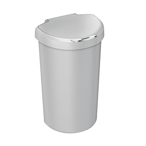 simplehuman 40L Semi-Round Sensor Can, Touchless Trash Can, Stone Plastic, 40 L / 10.5 Gal