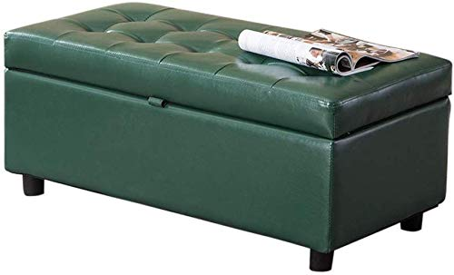 WXF Ottoman Veränderung Schuhe Hocker, Make-Up Hocker PU-Leder Lagerung Hocker Aus Holz Beine Kinder Rast Sofa Bank (Size : Large Green)