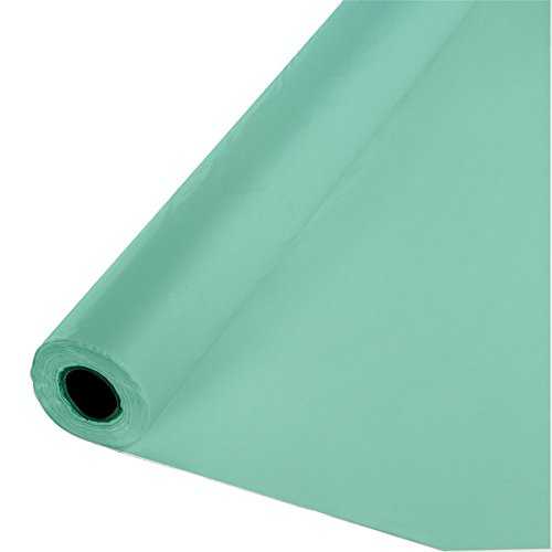 Creative Converting 318904 Party Touch of Color Plastic Tablecover Banquet Roll, Fresh Mint, 250' by Creative Converting