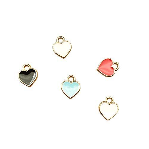 SANQIU 50PCS Mixed Color Enamel Tiny Heart Charm for Jewelry Making and Crafting
