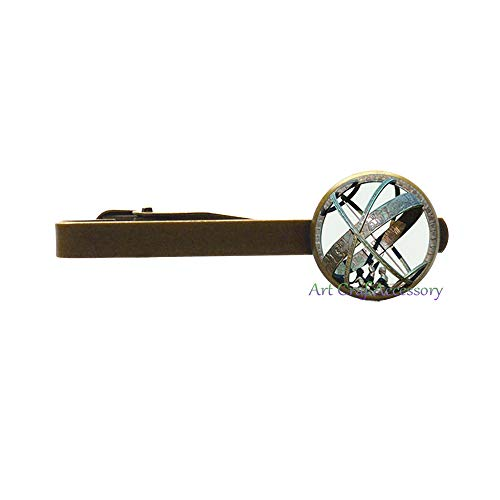 (Astronomical Sundial Globe Tie Pin Astronomy Tie Clip Aqua Silver Astrological Fashion Astronomy Science Jewelry,RN151 (G2))