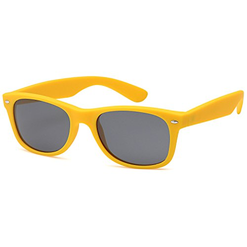 GAMMA RAY CHEATERS Best Value Polarized UV400 Wayfarer Style Sunglasses with Mirror Lens and Multi Pack Options Adult - Gray Lens on Matte Yellow Frame