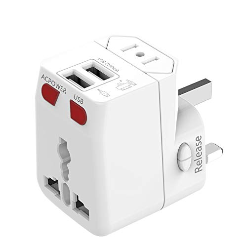 Universal Travel Adapter, Wonplug Universal Power Adapter Plug with 2.1A Dual USB, Universal Adapter Converters for UK…