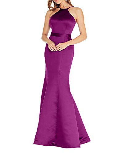 Braut Meerjungfrau Fuchsia Ballkleider Abendkleider Etuikleider Abschlussballkleider 2018 Satin Elegant Lang La Partykleider Dunkel mia Einfach Tvw6x5TqC