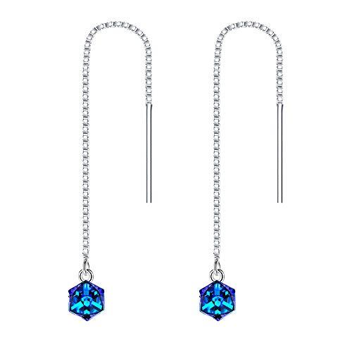 (BriLove 925 Sterling Silver Threader Dangle Earrings, Swarovski Crystal