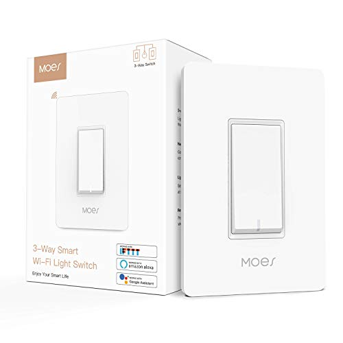 MOES 3-Way WiFi Smart Switch for Light Fan,Compatible with Alexa and Google Home,No Hub Required,Smart Life APP Provides Control from Anywhere