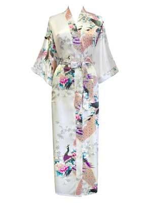 Old Shanghai Women s Kimono Long Robe - Peacock   Blossoms 3b06d7e3d