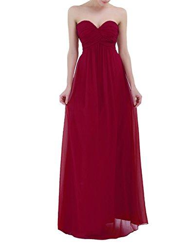 Freebily Vestido Largo Elegante Mujer Chica para Fiesta Cóctel Graduación Boda Vestido de Noche Vino