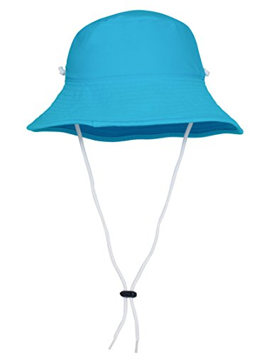 Tuga Girls Reversible Bucket Sun Hat (UPF 50+), Turquoise/Hawaii, - Hat Ultimate Sun