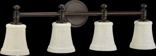 Quorum International 5122-4-86 Vanity Lights with Linen Shades, Oiled Bronze by Quorum by Quorum