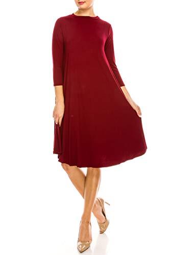 (Woman's Long Sleeve Knee Length Casual T Shirt Midi Dress (Small, Burgundy))